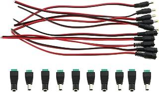 E-outstanding 5 对直流电源猪尾电缆线 12V 5A 2.1x5.5MM 公母接头,用于*相机和照明电源适配器