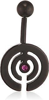 Pure Grey 中性香蕉叉德国制造肚脐穿孔钛锆石紫色明亮切割 - 珠宝Eternitybells 14 BL FU