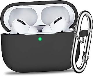 ORIbox AirPods 保护套硅胶保护套皮肤适用于苹果 Airpods 2 和 1(正面 LED 可见)黑色