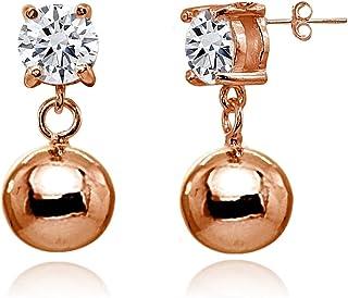纯银方晶锆石悬挂圆珠耳钉,4mm、5mm 或 6mm