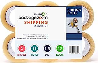 PackageZoom 包装胶带 - 透明的 12 卷 x 55 码。2 英寸宽,1.9 密耳重型密封胶,适用于箱子、运输、移动、包装、办公室、存储、胶带枪替换装