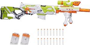 Nerf 长冲程模型玩具枪 包含延伸枪杆 双脚架 瞄准镜 18 个精英模型子弹和 3个六头子弹夹