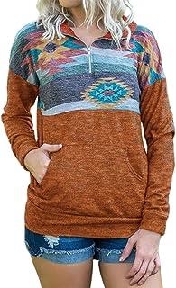 Artfish 女式四分之一拉链休闲套头衫轻质羊毛运动衫带口袋