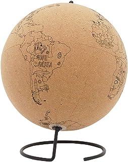 7.9 英寸(约 20.1 厘米)软木地球仪 红色推销 ¨C 可旋转世界地球软木 带金属支架 适用于家庭或办公室备忘录装饰 地球地球地球仪 动物和地标风景印花