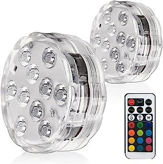 泳池灯,可潜水 LED 灯,遥控 IP 68 防水游泳池/池塘灯多色变色电池,适合泳池派对花瓶池塘喷泉(2 件装)