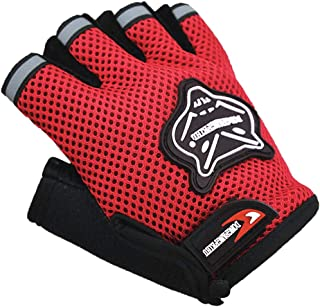 Fox Pattern 儿童无指自行车手套,男孩半指户外运动公路山地自行车手套,防滑凝胶,短手指透气夏季手套
