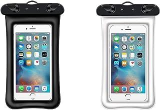 2 件通用防水手机袋,手机干燥袋保护套兼容 iPhone 12/11 Pro Max/Pro/8 Plus,Galaxy S21/S20/S10/Note 20/10/9,Plus 手机高达 6.8(一个黑色加一个白色)