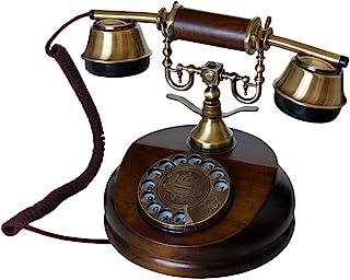 OPIS 1921 电缆 - A 型 - 仿古风格电话,带木质和金属机身,功能旋转表盘和经典金属铃