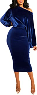 ECHOINE 女式派对礼服性感天鹅绒长袖露肩铅笔中长款连衣裙 皇家蓝 X-Large