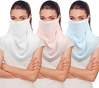 3件套 女士遮阳 面巾 雪纺 颈套 女士遮阳巾 凉爽 颈部绑带 遮阳 围巾 钓鱼面罩 户外活动 3种颜色