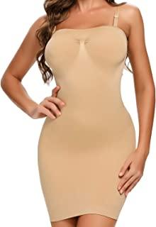 女式控制滑块塑身衣连衣裙全身塑身收腹吊带背心(米色,XXL 码)
