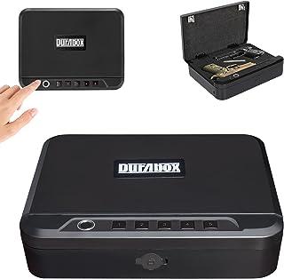 Durabox 快速访问锁盒**,带生物指纹、PIN 键盘和钥匙,用于枪支、手枪和其他贵重物品便携式旅行存储