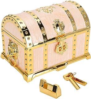复古浮雕首饰盒,大容量天鹅绒内里,矩形饰品宝盒,带仿古锁和钥匙,用于装饰和手表,理想的礼品和家居装饰