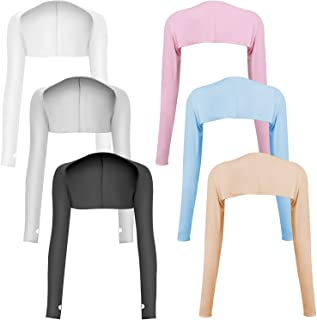 6 件防紫外线冷却披肩袖套,女士*凉爽披肩压缩袖袖袖套带指孔,适合女士高尔夫、驾驶、骑自行车、钓鱼、户外活动