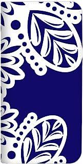 Mitas iPhone11Pro 手机壳 手账型 无带 亚洲花边 蓝色 (448) NB-2351-BU/iPhone11Pro