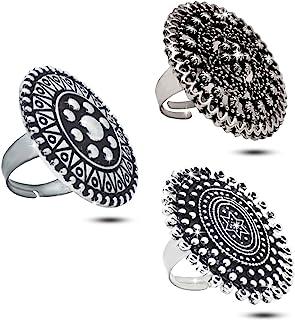 女式戒指时尚可调节 3 件套 - 传统印度民族服装