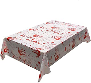 SUNTRADE 万圣节血腥僵尸桌布,可怕的桌布,适用于万圣节鬼屋装饰脚印手印窗户贴纸贴花用品