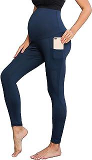 女士孕妇锻炼跑步瑜伽裤侧网运动打底裤带口袋