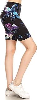 Leggings Depot 女式超弹力印花弹性抽绳海豚女式短裤长裤带口袋
