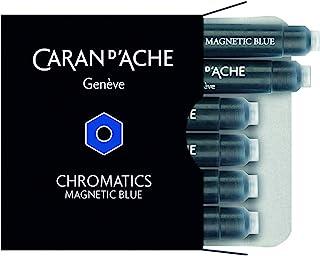 Caran d'Ache 铬色墨盒,磁性蓝色,6 支装 (8021.149)