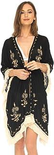 SHU-SHI 女式波西米亚风和服海滩泳装罩衫刺绣