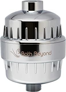 BathBeyond 淋浴过滤器维生素 C 15 阶段高输出滤水器带硬水盒 - 淋浴头过滤器可去除氯氟并改善皮肤状况,* 镀铬色
