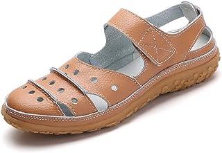 Fortuning's JDS 柔软皮革平底女士凉鞋,夏季休闲鞋,舒适轻便防滑鞋底魔术贴系带镂空闭趾凉鞋