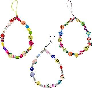 3 件串珠手机挂绳腕带笑脸水果星星字母珍珠手工制作彩虹丙烯酸聚合物粘土珠钥匙扣配件适合女士女孩