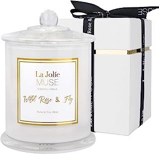 LA JOLIE MUSE 野玫瑰和无花果香味蜡烛,家用天然大豆蜡烛,65 小时燃烧,白色玻璃罐,家庭礼品