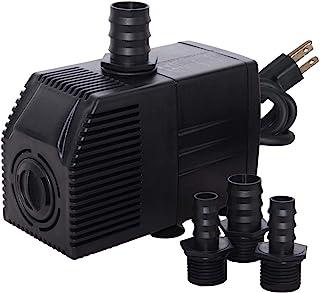 Simple Deluxe UL *认证 290 GPH (1087L/H) 潜水水泵带可调节进气和 6 英尺防水绳,适用于海洋、喷泉、鱼缸等,黑色