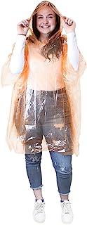eBuyGB 2 件装中性防水雨披,橙色,均码