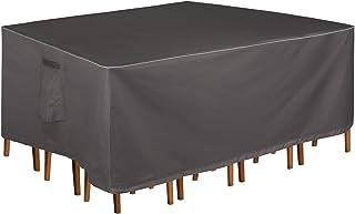 矩形/椭圆形露台桌套 600D 重型餐桌罩户外防水庭院家具罩-深灰色(48 英寸(长)×25 英寸(宽)×18 英寸(高),灰色)