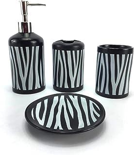 WPM 4 件套陶瓷浴室配件套装 - 斑马印花 - 我们的全套浴室装饰套件包括设计师香皂或乳液分配器 - 牙刷架 - 平底杯 - 肥皂盘