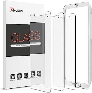 Trianium (3 件装)屏幕保护膜,专为苹果 iPhone XS Max 2018 设计优质高清晰度 0.25mm 钢化玻璃屏幕保护膜,带简易安装对齐保护壳框[3D 触控](3-件装)