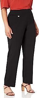 SLIM-SATION 女式加大码套穿纯色针织喇叭裤,带收腹面板