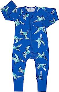 Bonds Baby Wondersuit 双向拉链和折叠脚/袖口连脚服(6-12 个月,飞翔的翼龙蓝)