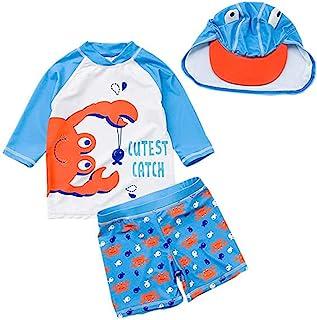 婴儿幼儿男孩两件套泳衣套装 恐龙鲨鱼泳衣*衣带帽子 UPF 50+
