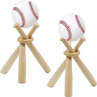 RONYOUNG 2 套棒球支架棒球支架木质底座球支架展示支架