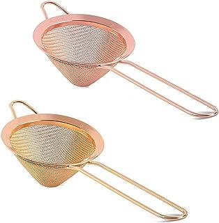 2 件细网眼鸡尾酒过滤器不锈钢小食物过滤器,适用于鸡尾酒、茶草、咖啡、饮料(金色 + 玫瑰金)
