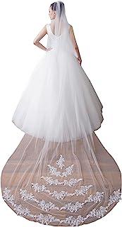 EllieHouse 女式 1 层大教堂蕾丝婚礼新娘面纱带金属梳 X46
