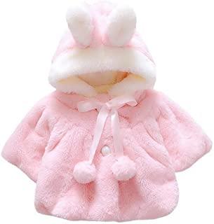 女婴儿童可爱冬季披肩夹克公主毛皮连衣裙外套纽扣封口连帽衫 适合 1-2 岁儿童 粉色