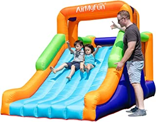 AirMyFun 弹跳屋带滑梯,可充气耐用缝制跳伞城堡,成人儿童户外室内