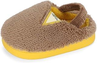 LACOFIA 男孩拖鞋温暖家居鞋儿童柔软冬季家居拖鞋适合幼儿毛绒室内拖鞋女孩