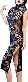 女式旗袍连衣裙透明蕾丝中国复古中式领性感紧身连衣裙内衣睡衣