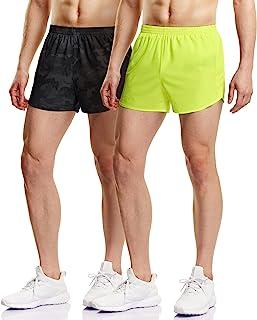 ATHLIO 男式(2 条装)7.62 cm 速干网眼内衬步行短裤慢跑马拉松