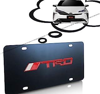 适合 TRD 3D 金属标志黑色金属坚固车牌盖框架,带螺丝盖套套装适合 Toyot-a TRD 。