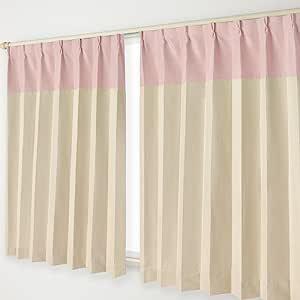 双色调遮光窗帘 A钩 宽100×长190cm 2件装 24.粉色头×米色