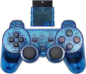 Cotchear 无线游戏手柄 适用于 PS2 控制器 适用于 Playstation 1 2 控制台操纵杆 双振动冲击 Joypad 无线控制器 - 蓝色