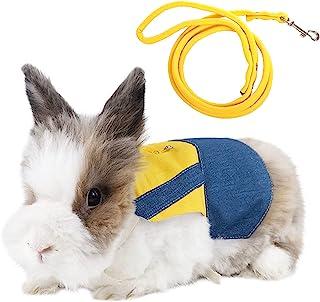 Dasior Rabbit Dress 胸背带套装 小型宠物可调节步行背心 兔子雪貂可爱衣服(黄色,S 码)