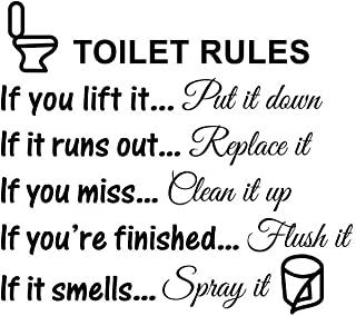 浴室马桶盖贴花,乙烯基艺术贴花 DIY 家居装饰卫生间规则标志设计(标志字)